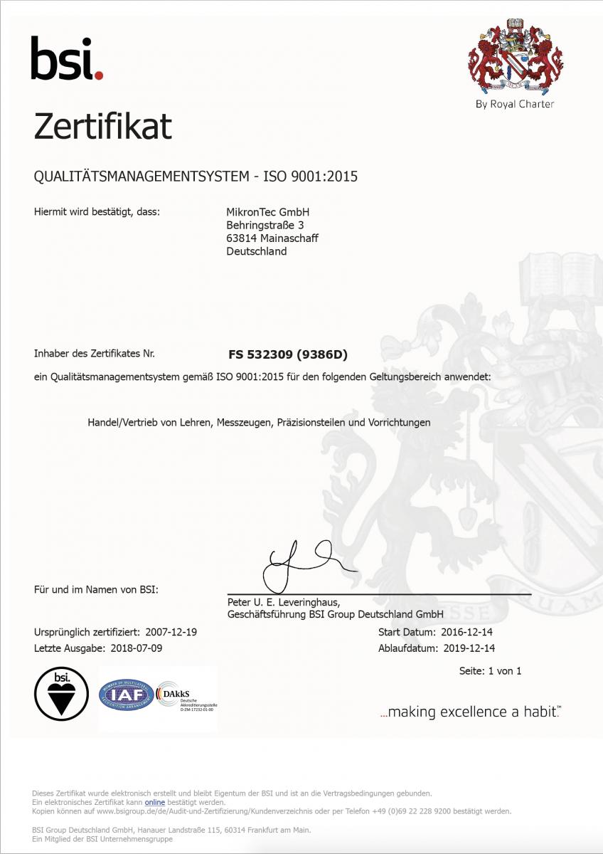 MikronTec Qualitätszertifikat ISO 9001:2015