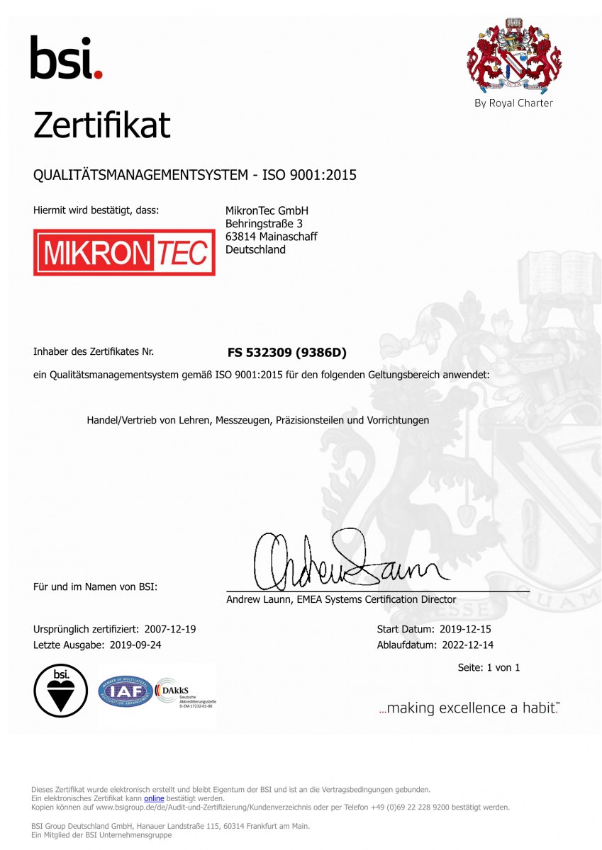 MikronTec Quality Certificate ISO 9001:2015